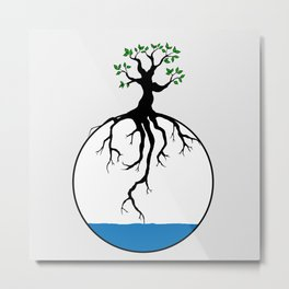 Tree with root in the water Metal Print