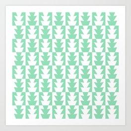 Art Deco Jagged Edge Pattern Mint Green Art Print
