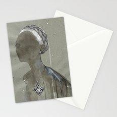 girl with silver diamond oltu stone necklace Stationery Cards