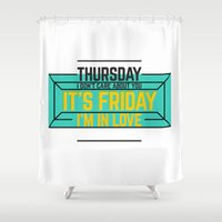 friday Shower Curtains featuring Friday by Typeandmusic