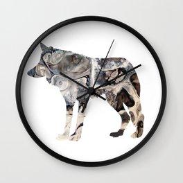 Gray Abstract Fluid Art Wolf Image Wall Clock