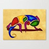 chameleon Canvas Prints featuring Chameleon by Aleksandra Mikolajczak