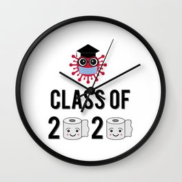Class of 2020 funny illustration with cute cartoon virus wearing graduation hat and protective mask, and toilet paper rolls.  Wall Clock
