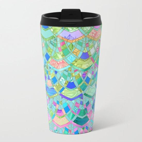 Art Deco Watercolor Patchwork Pattern 1 Metal Travel Mug
