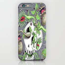 skull pot with carnivorous plants iPhone Case