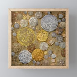 Pirate's Treasure - Pirate Coins On The Ocean Floor Framed Mini Art Print