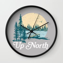 Vintage Retro Up North Lake Wall Clock