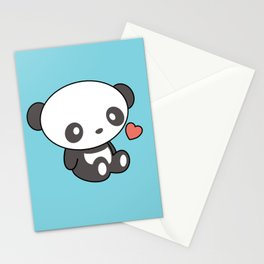 Kawaii Cute Panda With Heart Stationery Cards