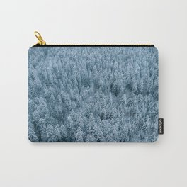 Winter pine forest aerial - Landscape Photography Carry-All Pouch