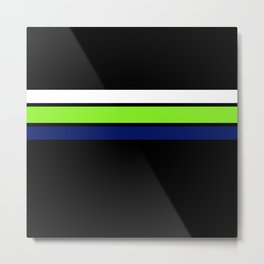 Team colors....Neon green .navy and white on black Metal Print