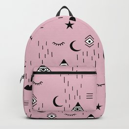 Ethnic elements and indian spiritual moon phase and universe wisdom pattern pink Backpack