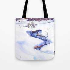 Open Stream In Winter Tote Bag