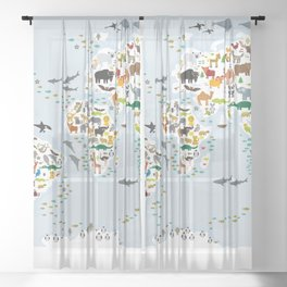 Cartoon animal world map for children and kids, Animals from all over the world, back to school Sheer Curtain