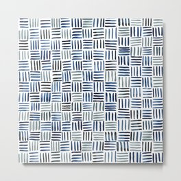 Indigo Crosshatch Pattern Metal Print
