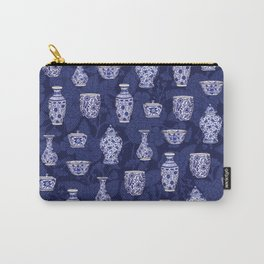 Blue & White Chinoiserie/ Delftware Pottery Pattern Carry-All Pouch