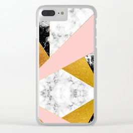 Golden foil and marble Clear iPhone Case