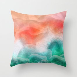 """Coral sand beach and tropical turquoise sea"" Throw Pillow"
