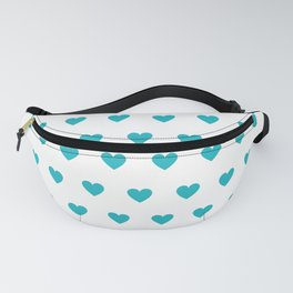 Polka dot hearts - turquoise Fanny Pack
