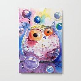Bubble owl Metal Print