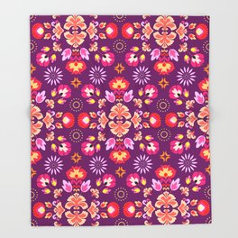 Fiesta Folk Purple #society6 #folk Throw Blanket
