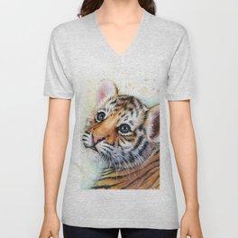 Nursery-Artwork-Tiger-Cub-Baby-Animal-Watercolor-Jungle-Safari-Animals Unisex V-Neck
