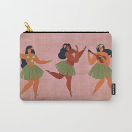 Hawaiian Hula Dancer Girls on Aged Pink Carry-All Pouch