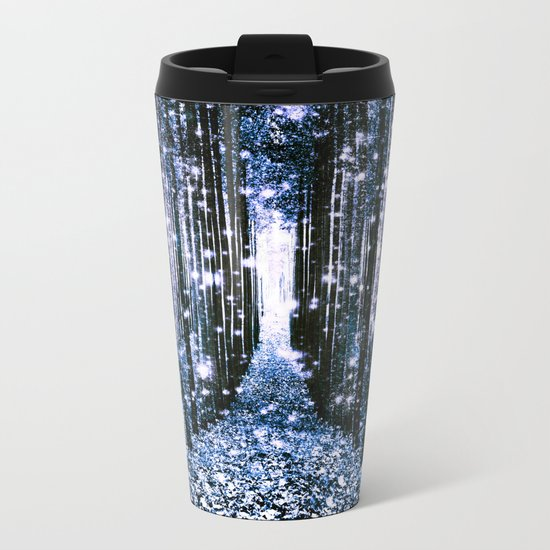 Magical Forest Dark Blue Elegance Metal Travel Mug