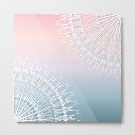 Coral Blue Geometric Mandala Metal Print