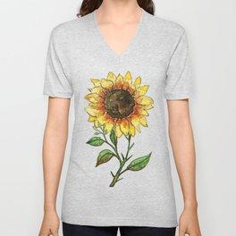 Single Watercolor Sunflower Unisex V-Neck