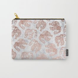 Boho rose gold floral paisley mandala elephants illustration white marble pattern Carry-All Pouch