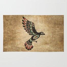 Red and Green Haida Spirit Flying Bird Rug