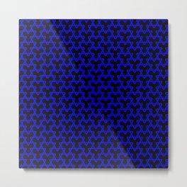 Blue Triangles on Black Metal Print