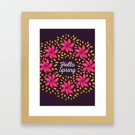 Hello Spring Watercolor Flowers Wreath Framed Art Print