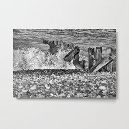 Crashing waves on the beach Metal Print