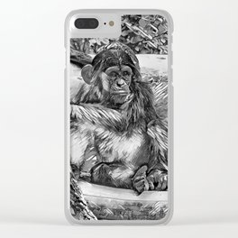 AnimalArtBW_Chimpanzee_20170905_by_JAMColorsSpecial Clear iPhone Case