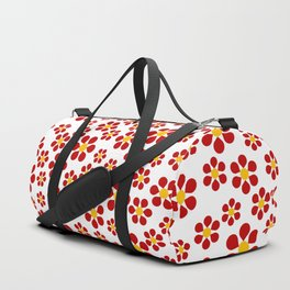 Dizzy Daisies - red on white Duffle Bag