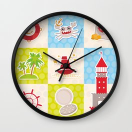 Card pirate design. Cute party invitation colorful background seamless pattern. lighthouse compass Wall Clock