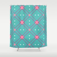 quilt Shower Curtains featuring Quilt by Bunhugger Design