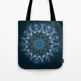 Blue Ice Swirl mandala Tote Bag