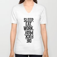 sleep V-neck T-shirts featuring Sleep by LazyDog