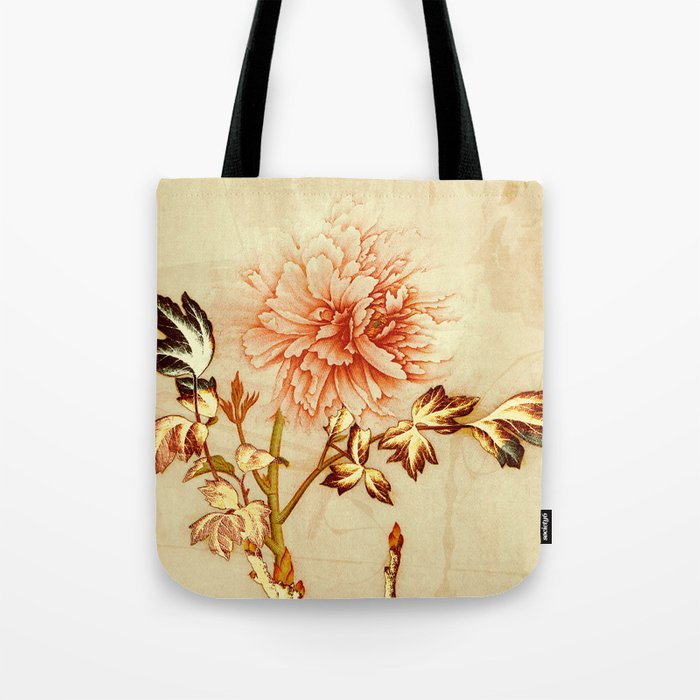 peach and golden floral Tote Bag