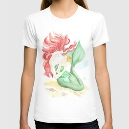 mermaid mother and daughter, watercolor painting, decor for girls room, mermaids art T-shirt
