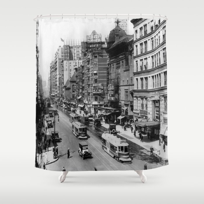Vintage Broadway NYC Photograph 1920 Shower Curtain