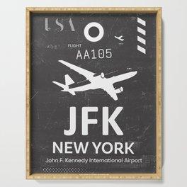 JFK Airport code New York USA Serving Tray