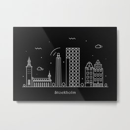 Stockholm Minimal Nightscape / Skyline Drawing Metal Print