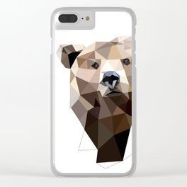 Bear geometric art Grizzly Woodland animals Clear iPhone Case
