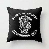sons of anarchy Throw Pillows featuring Svamps of Anarchy by Svampriket