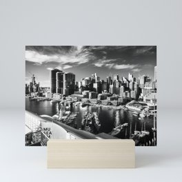 Sydney City and Barangaroo View from Darling Harbour in Black and White Mini Art Print