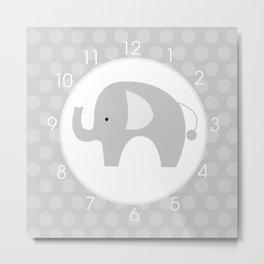 Gray Mod Elephant Clock Metal Print