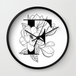Monogram Letter F with Magnolia Line Art Wall Clock